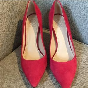 Tory Burch Red Suede Pumps